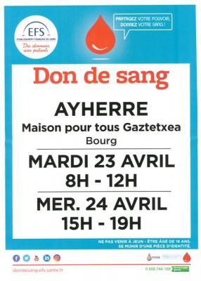 Affiche don du sang avril