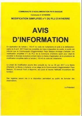 Avis modification 1 plu ayherre