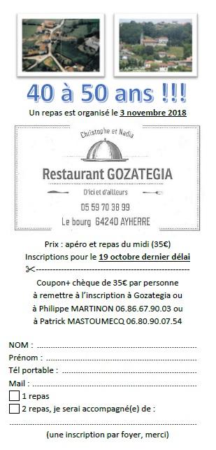 Invitation 40 a 50 ans en francais