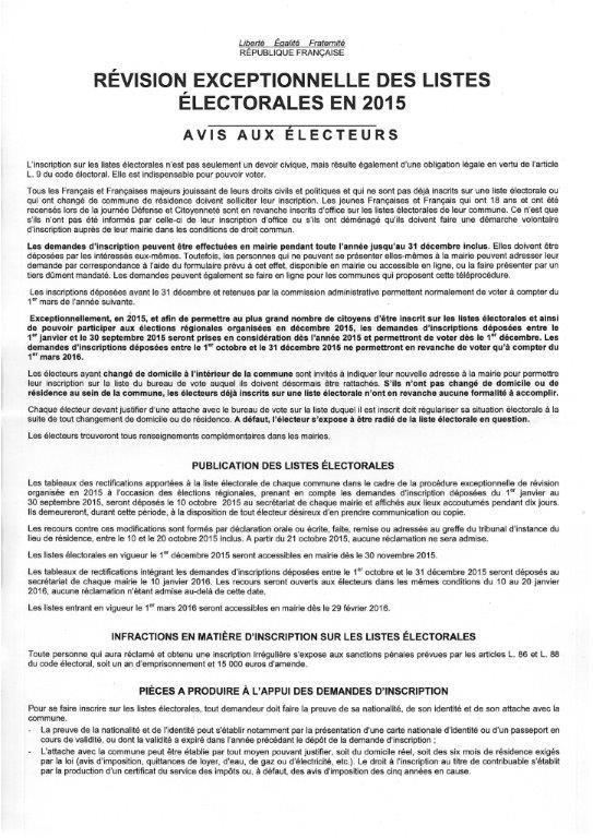 Revision exceptionnelle listes electorales