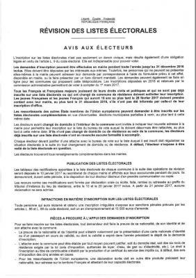 Révision listes électorales